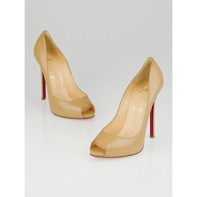 Christian Louboutin Beige Leather Flo 120 Peep Toe Pumps Size 7.5/38