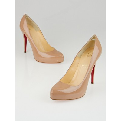 Christian Louboutin Nude Patent Leather Rolando 120 Pumps Size 11.5/42