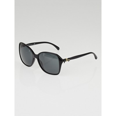 Chanel Black Frame Black Tint Bow Sunglasses-5205