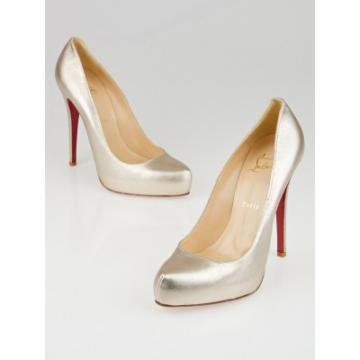 Christian Louboutin Rose Gold Metallic Leather Rolando 120 Pumps Size 9/39.5