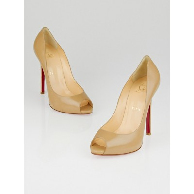 Christian Louboutin Beige Leather Flo 120 Peep Toe Pumps Size 8.5/39