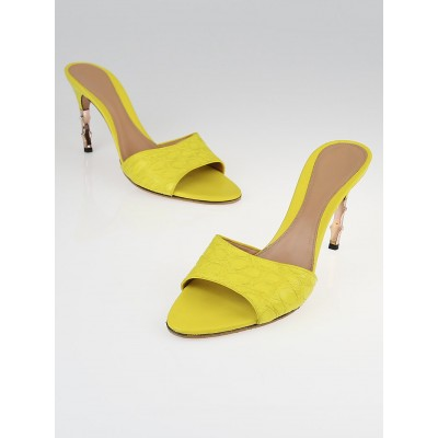 Gucci Yellow Embossed Leather Peep-Toe Slide Mule Sandals Size 10B