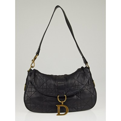 Christian Dior Black Cannage Quilted Lambskin Leather Shoulder Bag