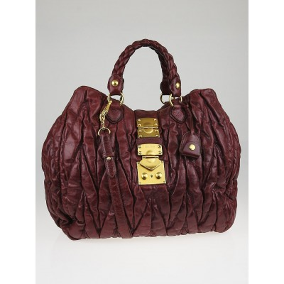 Miu Miu Burgundy Leather Matelasse Tote Bag