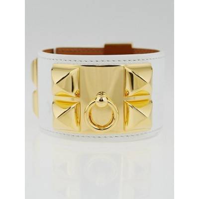 Hermes White Epsom Leather Gold Plated Collier de Chien Cuff Bracelet Size S