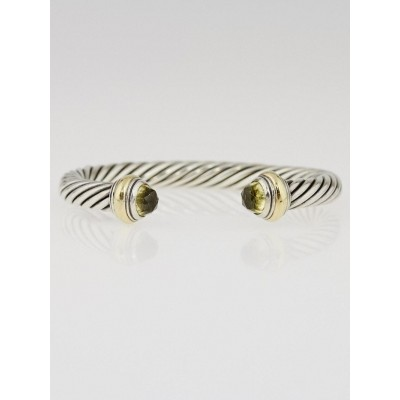 David Yurman 7mm Sterling Silver and Peridot Cable Classics Bracelet