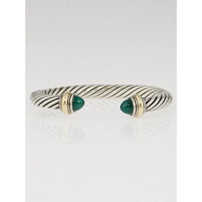 David Yurman 7mm Sterling Silver and Green Onyx Cable Classics Bracelet