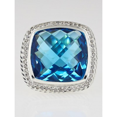 David Yurman 20mm Blue Topaz and Diamond Albion Ring Size 6