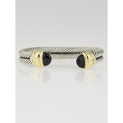 David Yurman Sterling Silver and Black Onyx Double Cable Bracelet