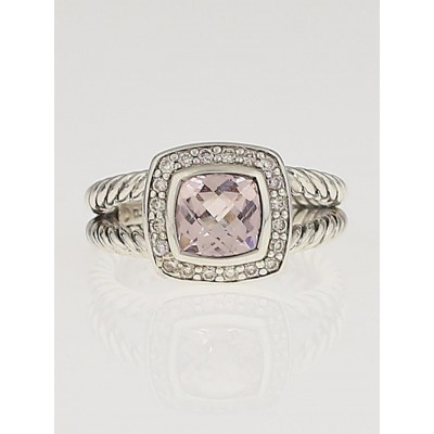David Yurman 7mm Morganite and Diamond Petite Albion Ring Size 7