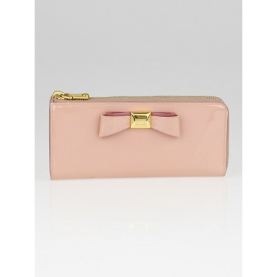 Miu Miu Pink Patent Leather Bow Zip Continental Wallet