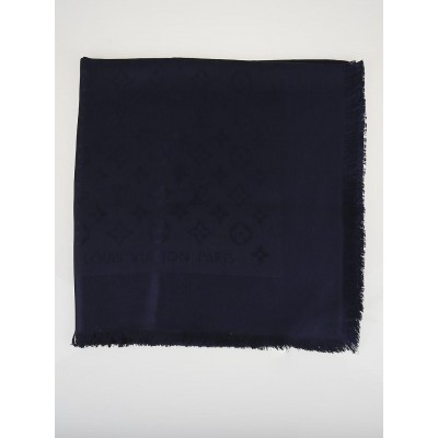 Louis Vuitton Navy Monogram Silk/Wool Shawl Scarf
