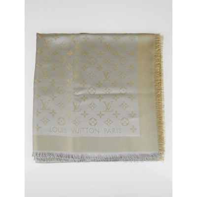 Louis Vuitton Beige Monogram Shine Silk/Wool Shawl Scarf