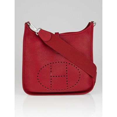 Hermes Rouge Garance Clemence Leather Evelyne III PM Bag