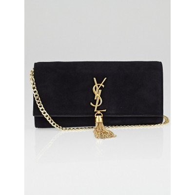 Saint Laurent Black Suede Monogramme Tassel Flap Bag