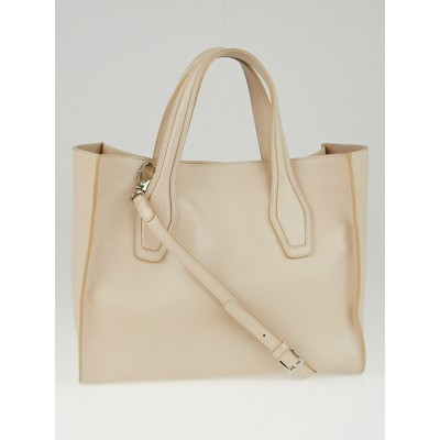 Tod's Beige Leather Media Shopping Tote Bag