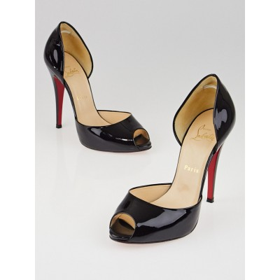 Christian Louboutin Black Patent Leather Madame Claude 120 Peep-Toe Pumps Size 8.5/39