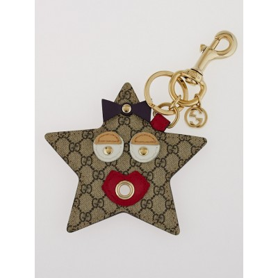 Gucci Beige GG Coated Canvas Star Key Holder and Bag Charm