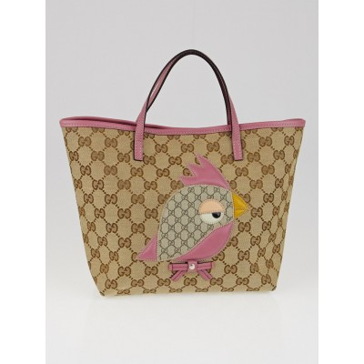 Gucci Beige/Pink GG Canvas 'Gucci Zoo' Parrot Mini Tote Bag