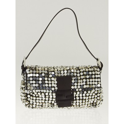 Fendi Silver Metallic Bead and Sequin Baguette Bag