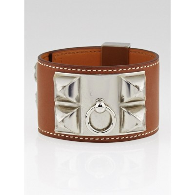 Hermes Natural Barenia Leather Palladium Plated Collier de Chien Bracelet Size L