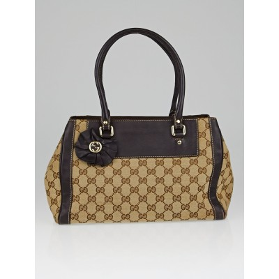 Gucci Beige/Ebony GG Canvas Trophy Small Tote Bag