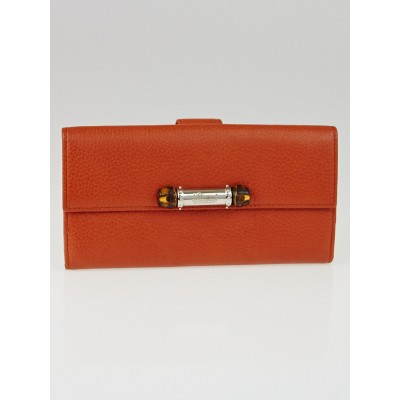 Gucci Orange Pebbled Leather Bamboo Long Continental Wallet