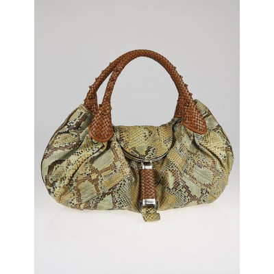 Fendi Green/Brown Python and Leather Spy Bag