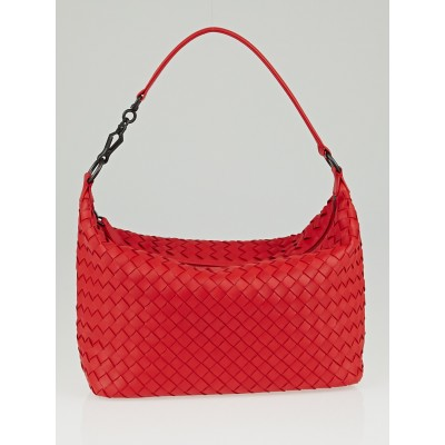 Bottega Veneta New Red Intrecciato Woven Nappa Leather Shoulder Bag