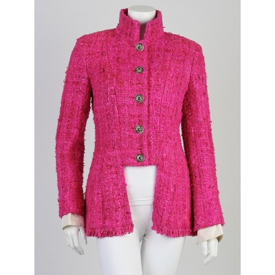 Chanel Fuchsia Silk Boucle Jacket Size 6/38
