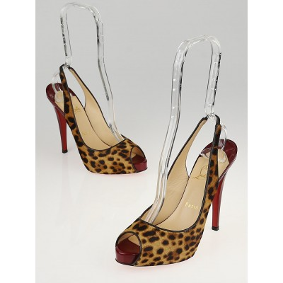 Christian Louboutin Leopard Print Pony Hair No Prive 120 Pumps Size 8/38.5