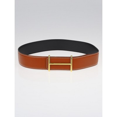 Hermes 42mm Black/Natural Chamonix/Barenia Leather and Graphite/Crocus Epsom Leather Idem Belt Kit Size 80