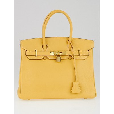 Hermes 30cm Soleil Fjord Leather Gold Plated Birkin Bag