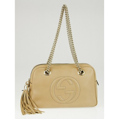 Gucci Beige Pebbled Leather Soho Chain Shoulder Bag