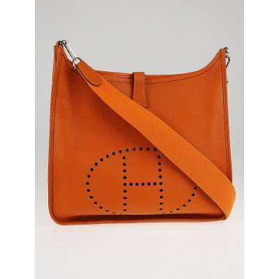 Hermes Orange Clemence Leather Evelyne II GM Bag