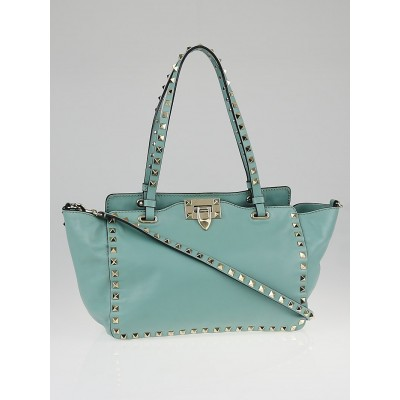 Valentino Blue Leather Rockstud Small Trapeze Tote Bag