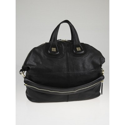 Givenchy Black Shiny Calfskin Leather Large Nightingale Bag