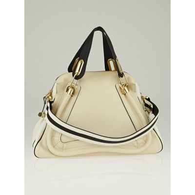 Chloe White/Black Leather Medium Paraty Bag