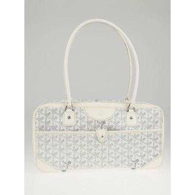 Goyard White Cheron Print Coated Canvas St. Martin Bag