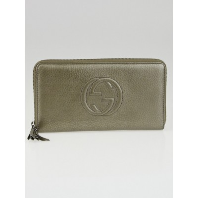 Gucci Bronze Pebbled Leather Soho Zip Organizer Wallet