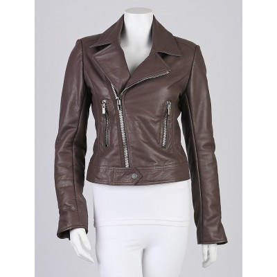 Balenciaga Ash Lambskin Leather New Classic Biker Jacket Size 8/40