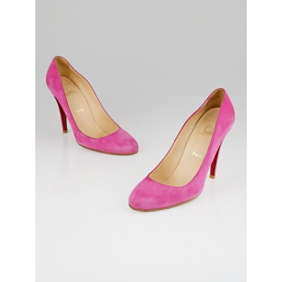 Christian Louboutin Rose Indien Suede Ron Ron 100 Pumps Size 10.5/41