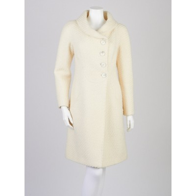 Valentino White Wool Knit Coat Size 4