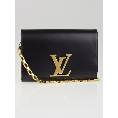 Louis Vuitton Black Calfskin Leather Chain Louise Clutch Bag