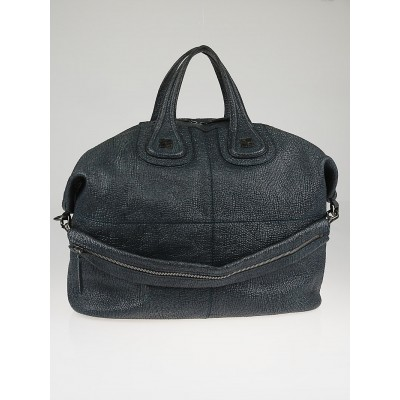 Givenchy Dark Blue Grained Patent Calfskin Leather Large Nightingale Bag