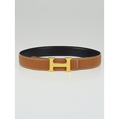 Hermes 32mm Black Box / Gold Clemence Leather Gold Plated Constance H Belt Size 72