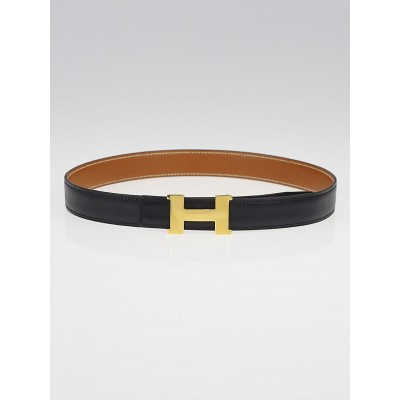 Hermes 24mm Black Box / Gold Courchevel Leather Gold Plated Constance H Belt Size 65