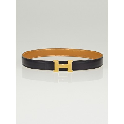 Hermes 24mm Black Box / Natural Chamonix Leather Gold Plated Constance H Belt Size 65
