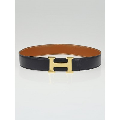 Hermes 32mm Black Box / Gold Togo Leather Gold Plated Constance H Belt Size 70