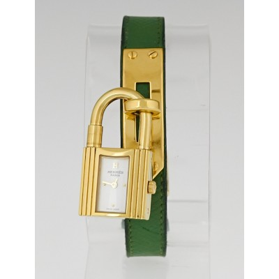 Hermes Vert Clair Courchevel Leather Gold Plated Kelly PM Watch